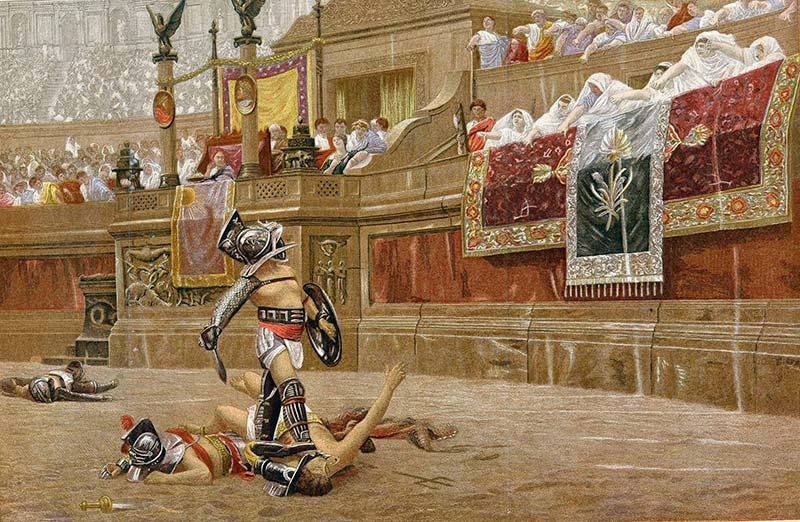 Гладиаторские бои на древнеримской арене