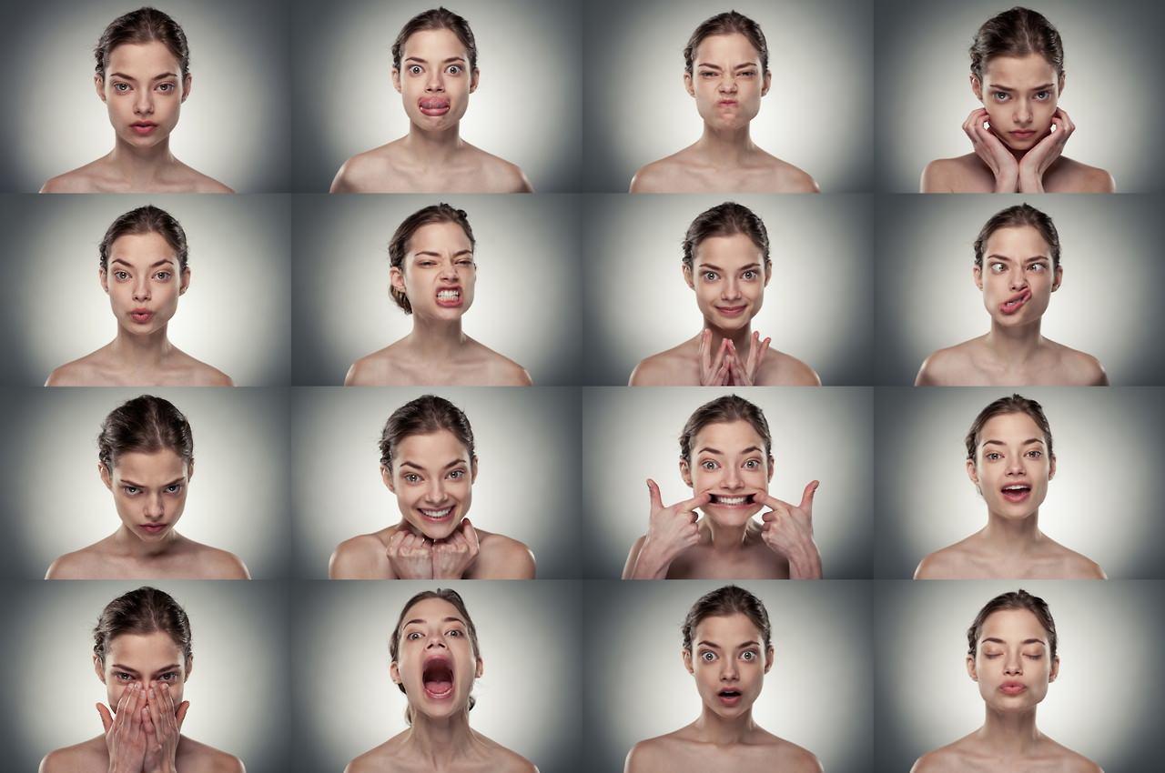 Различные эмоции у девушки